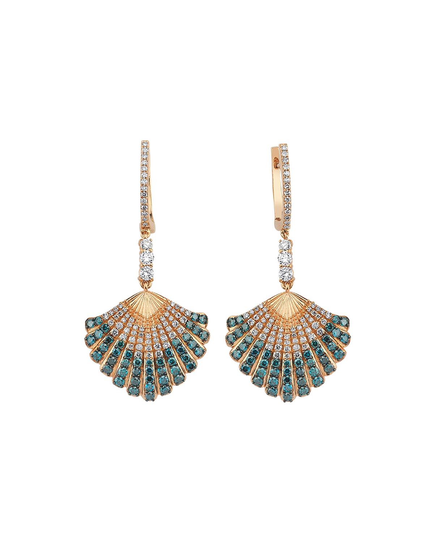 14k Multi-Diamond Oyster Drop Earrings