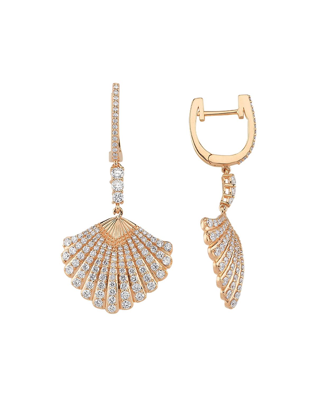 14k Diamond Oyster Drop Earrings