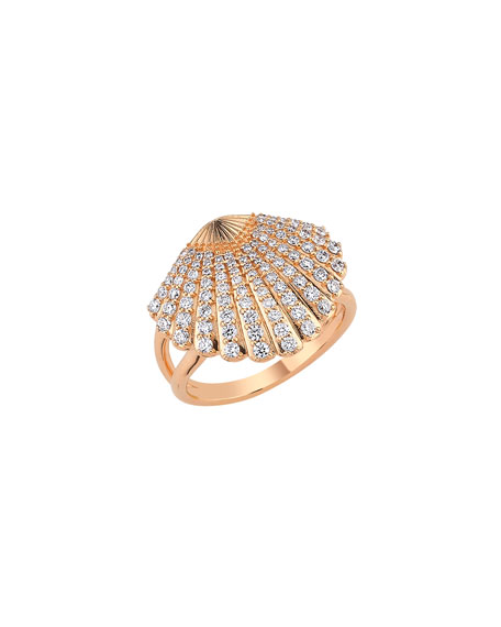 BeeGoddess 14k Diamond Oyster Ring, Size 7