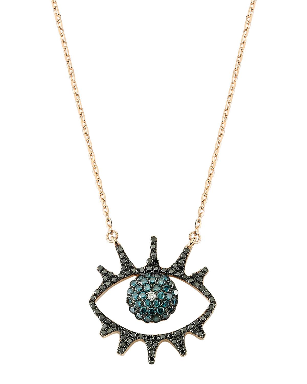 Eye Light Open Multi-Diamond Pendant Necklace
