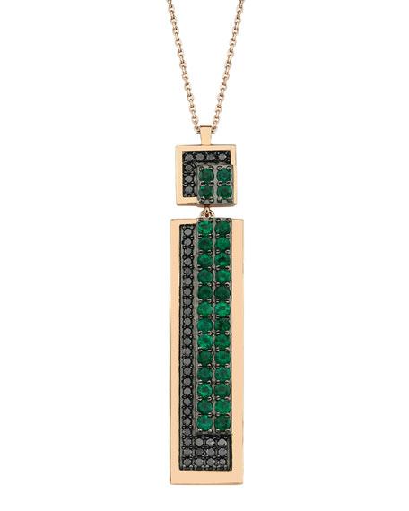BeeGoddess Mondrian Black Diamond and Emerald Necklace