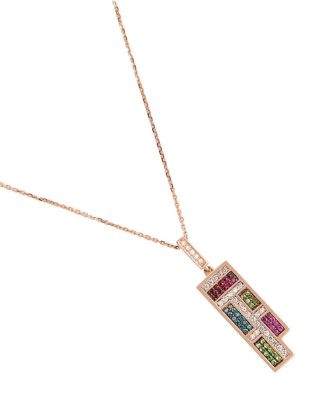 Mondrian Diamond and Ruby Pendant Necklace