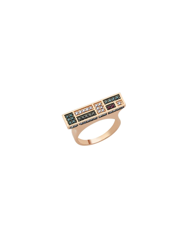 Mondrian Multi-Diamond and Ruby Bar Ring
