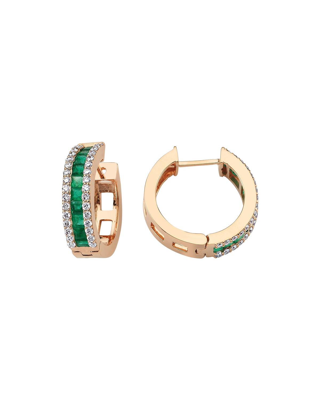 Mondrian Emerald and Diamond Hoop Earrings