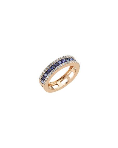 BeeGoddess Mondrian Blue Sapphire and Diamond Ring, Size 7