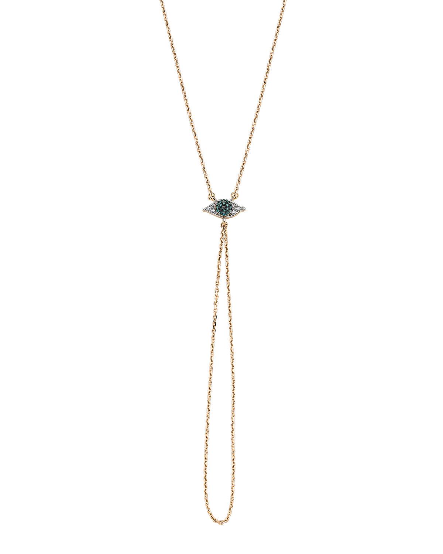 Eye Light Small Diamond and Chain Hand Bracelet