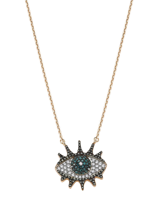 Eye Light 14k Pave Diamond Lashes Pendant Necklace