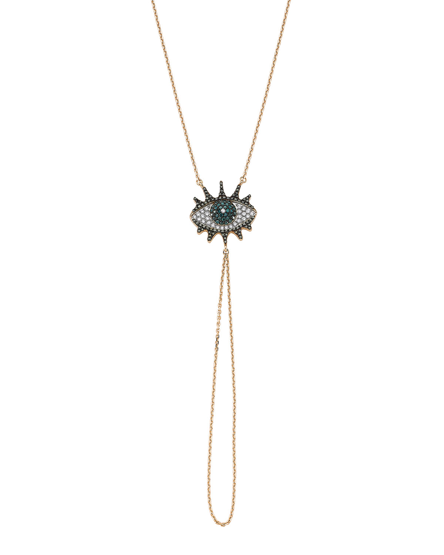 Eye Light Diamond and Chain Hand Bracelet