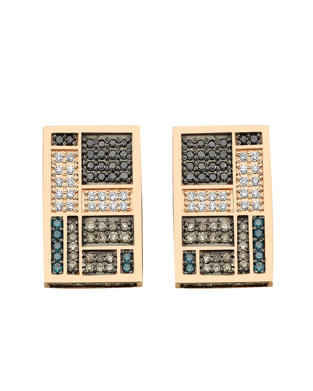 Mondrian 14k Multicolor Diamond Rectangular Earrings