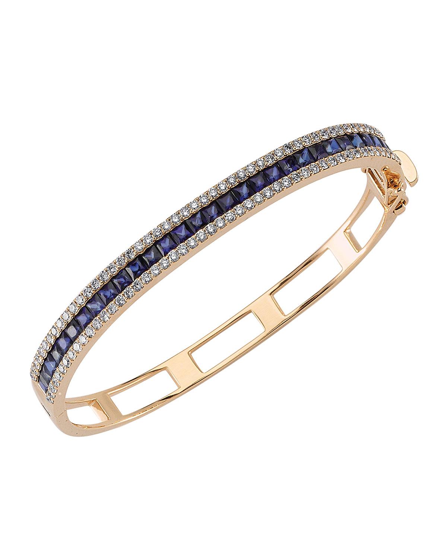 Mondrian 14k Blue Sapphire and Diamond Hinge Bracelet