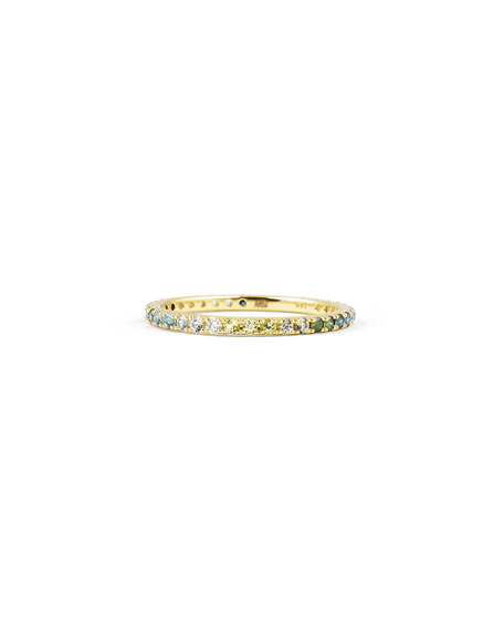 Stevie Wren Green/Blue Ombre Micro Pave Eternity Band, Size 7