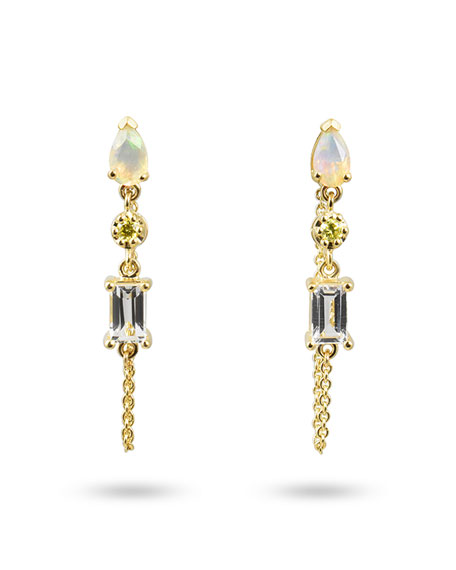 Stevie Wren 14k Yellow Gold 3-Stone and Diamond Dangle Earrings with Chain, Opal