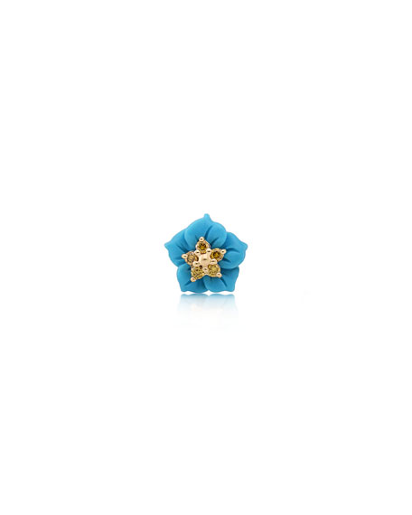 Stevie Wren 14k Yellow Gold Carved Turquoise Flower Stud with Yellow Diamonds, Single