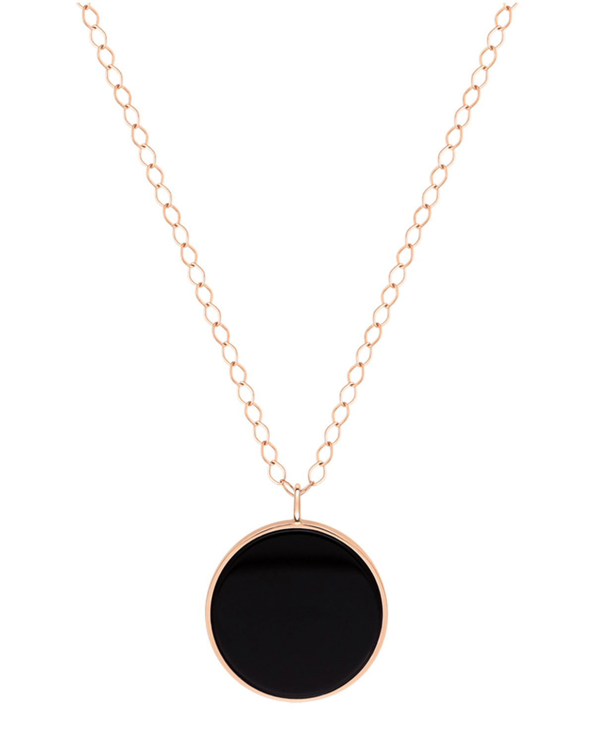 18k Rose Gold Jumbo Ever Disc Necklace in Black Onyx