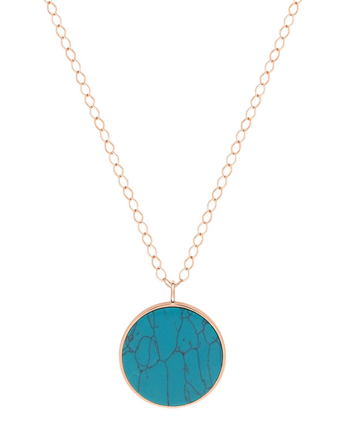 18k Rose Gold Jumbo Ever Disc Necklace in Turquoise