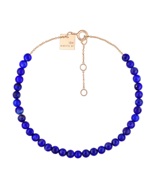 18k Rose Gold Maria Lapis Bead Bracelet