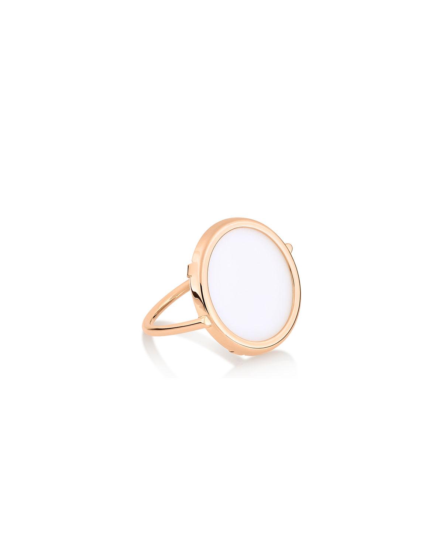 18k Rose Gold Ever White Agate Ring