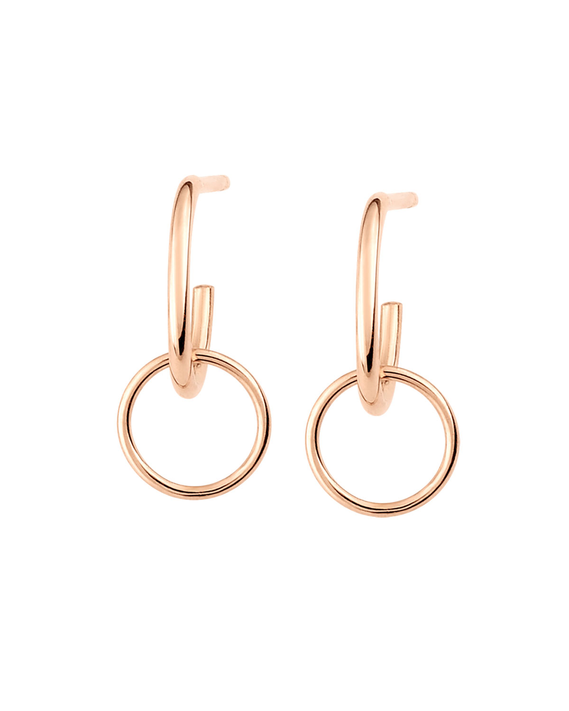 18k Rose Gold Tiny Circle Drop Earrings