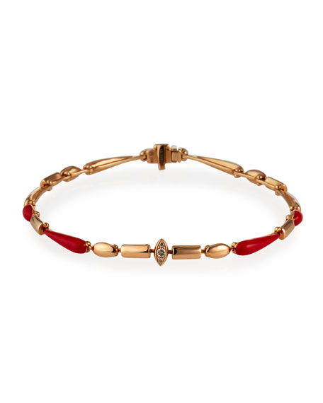 Etho Maria 18k Pink Gold Red Ceramic and Diamond Marquise Bracelet