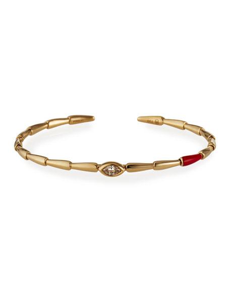 Etho Maria 18k Yellow Gold Red Ceramic and Brown Diamond Bracelet