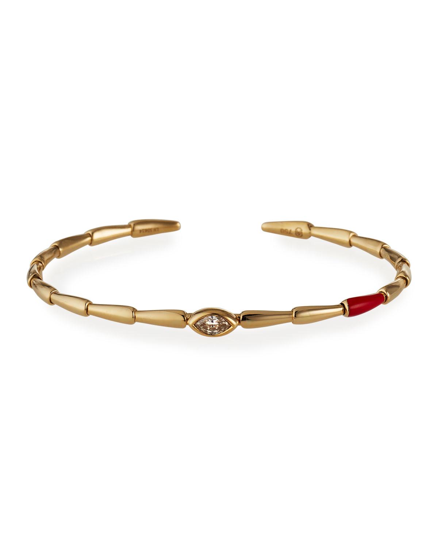 18k Yellow Gold Red Ceramic and Brown Diamond Bracelet