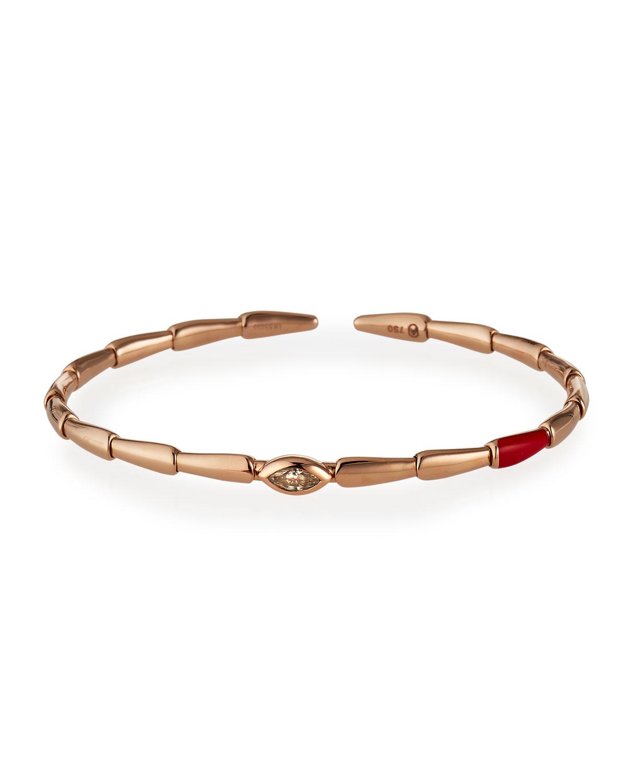 18k Pink Gold Red Ceramic and Brown Diamond Bracelet