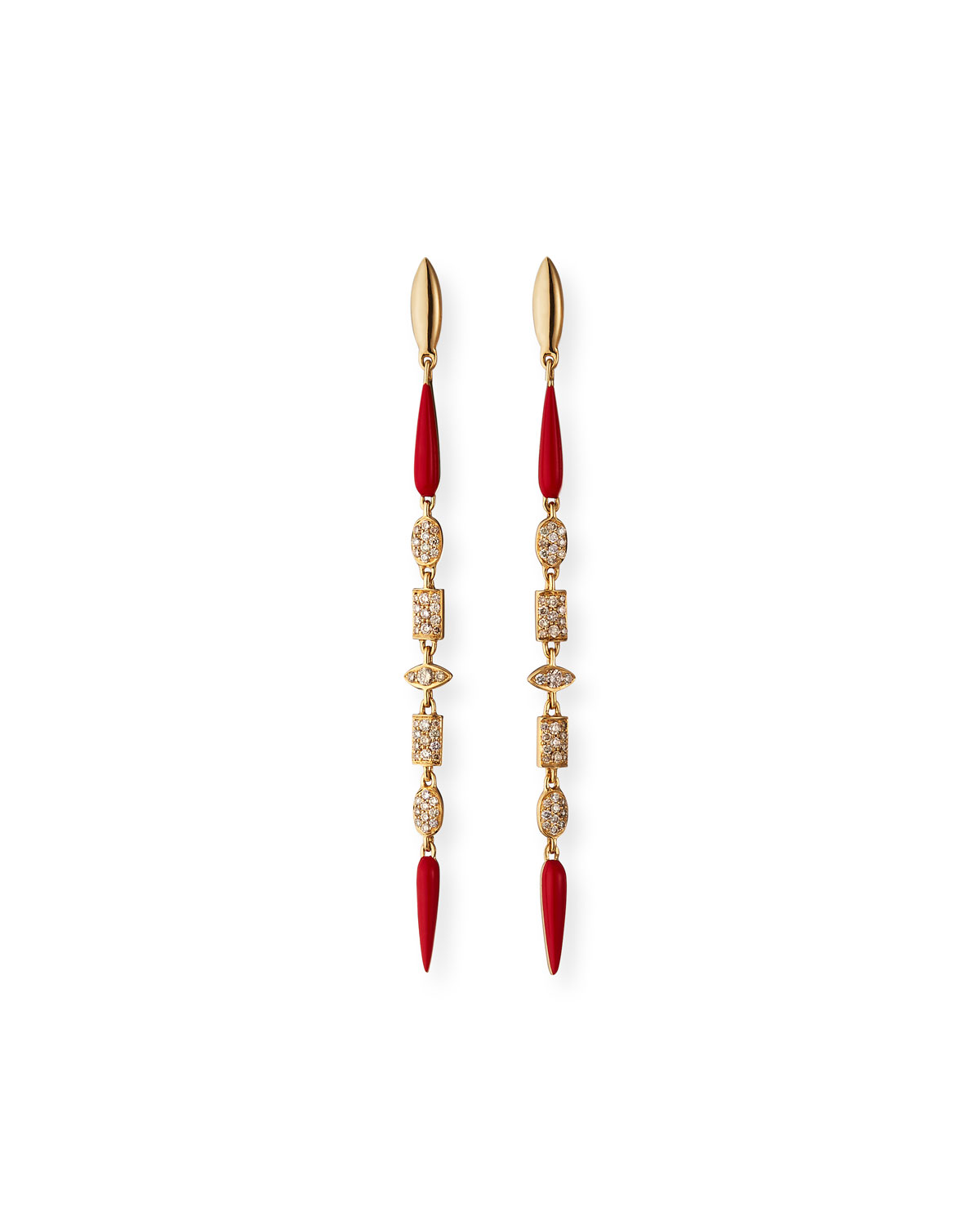 18k Pink Gold Linear Brown Diamond and Red Ceramic Earrings