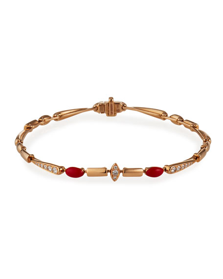 Etho Maria 18k Pink Gold Red Ceramic and Diamond Bracelet