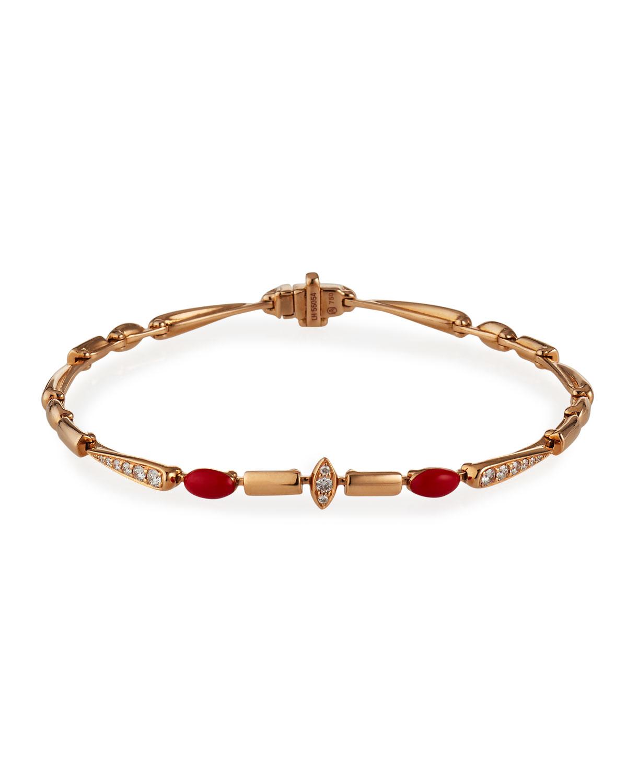 18k Pink Gold Red Ceramic and Diamond Bracelet
