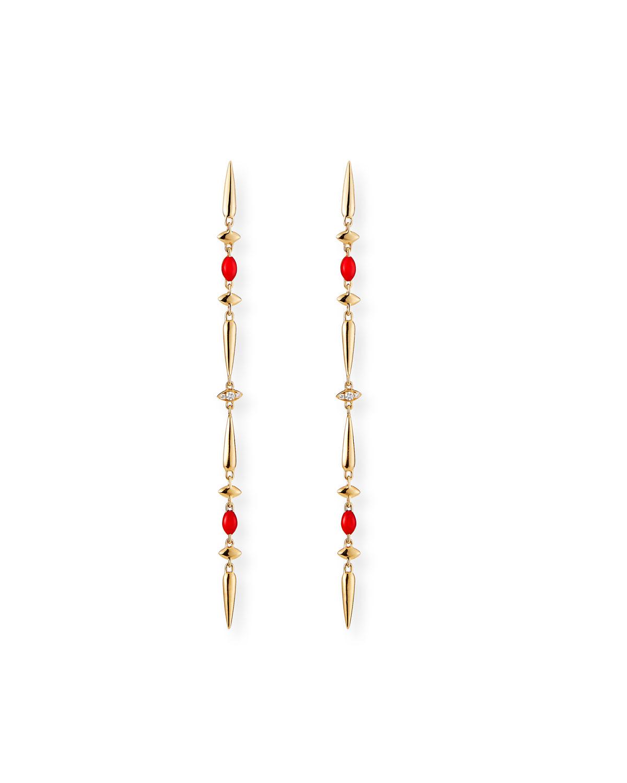 18k Yellow Gold Red Ceramic and Diamond Dangle Earrings