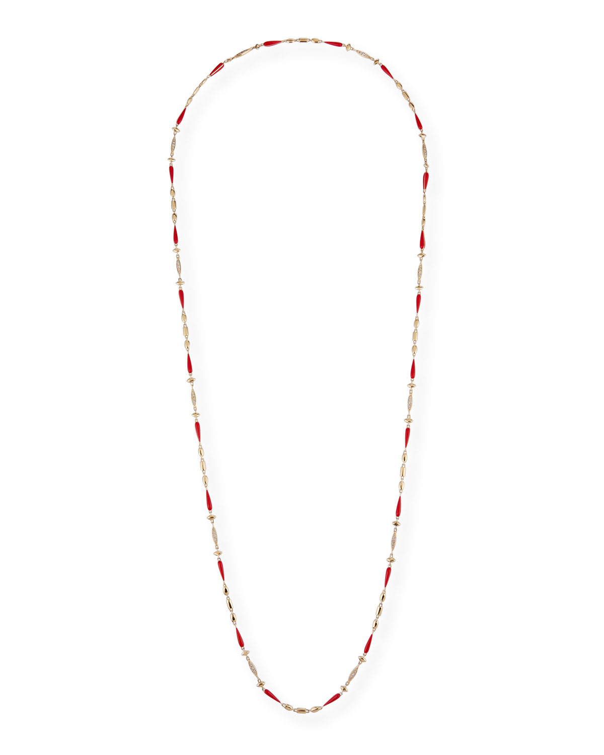 18k Yellow Gold Red Ceramic and Brown Diamond Necklace