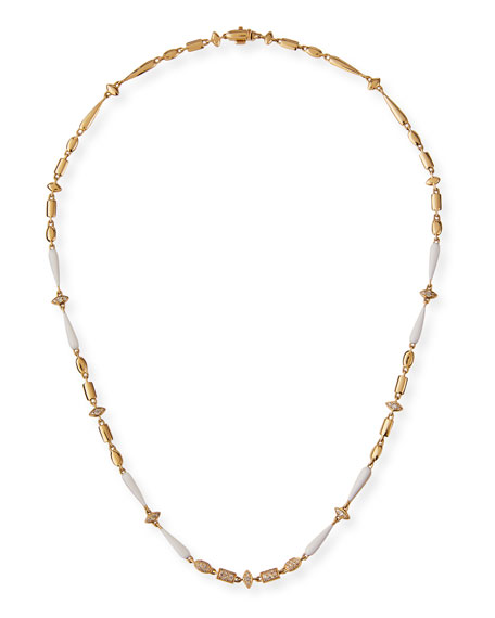 Etho Maria 18k Yellow Gold White Ceramic and Brown Diamond Necklace
