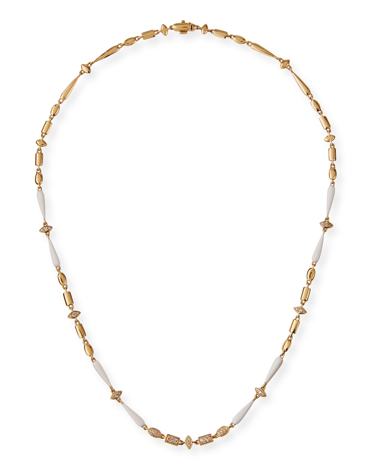 18k Yellow Gold White Ceramic and Brown Diamond Necklace