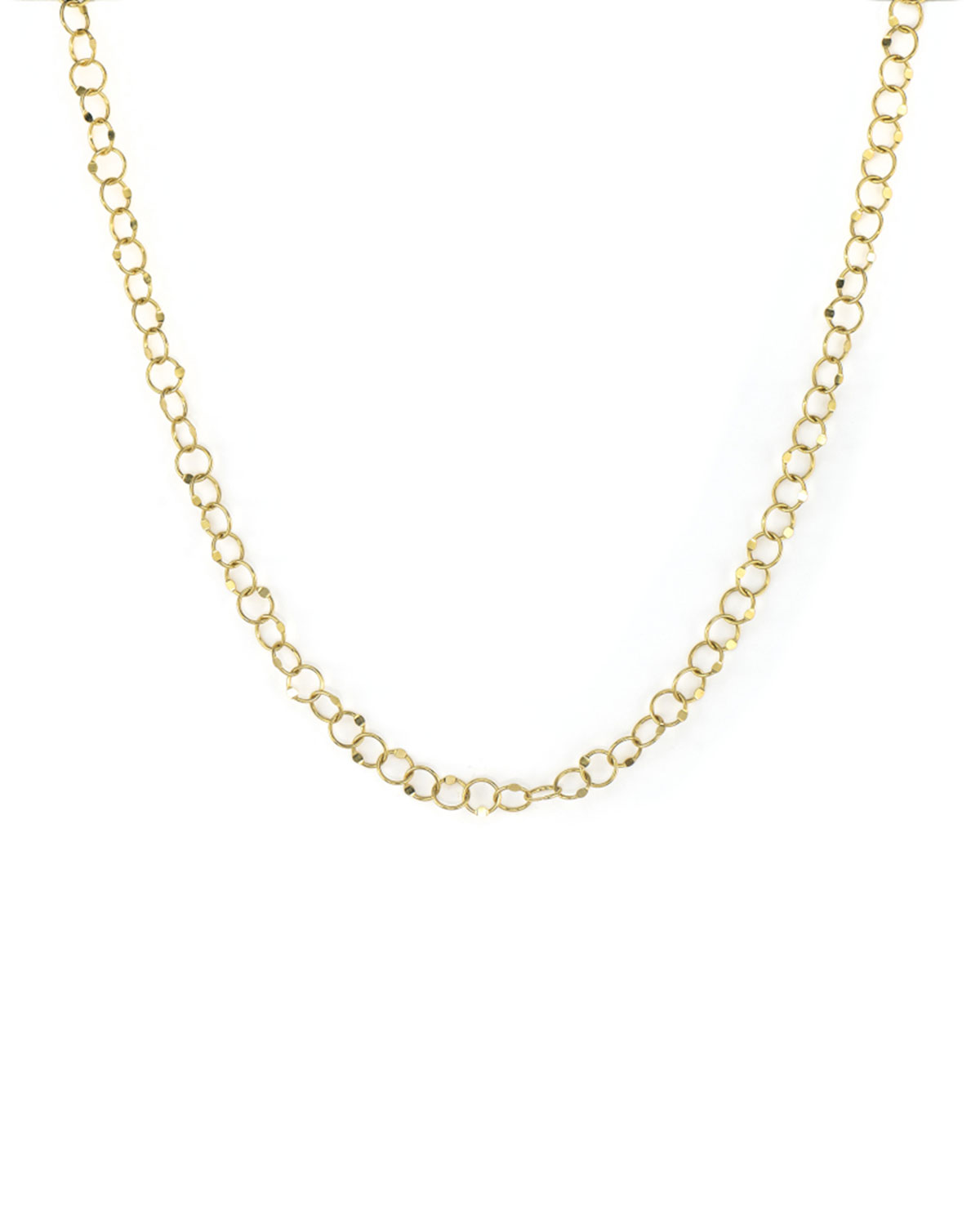 Lisse 18k Hammered Circle-Chain Necklace
