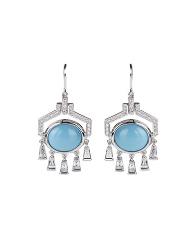 Yesterday 18k White Gold Turquoise Oval Drop Earrings with Diamonds