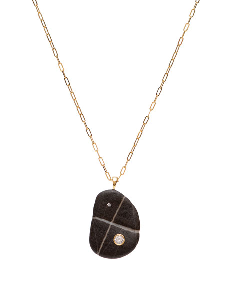 """CVC Stones 18k Gold Crescent Tuxedo Necklace - One of a Kind, 30"""""""