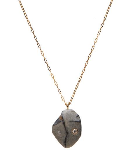 "CVC Stones 18k Gold Drop Poem Necklace - One of a Kind, 30"""