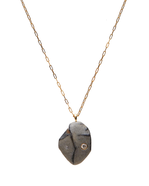 18k Gold Drop Poem Necklace
