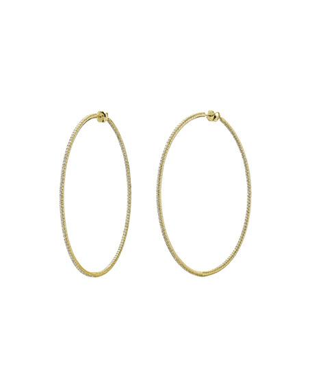 Mattia Cielo Rugiada 18K Diamond Hoop Earrings, 5.2tcw