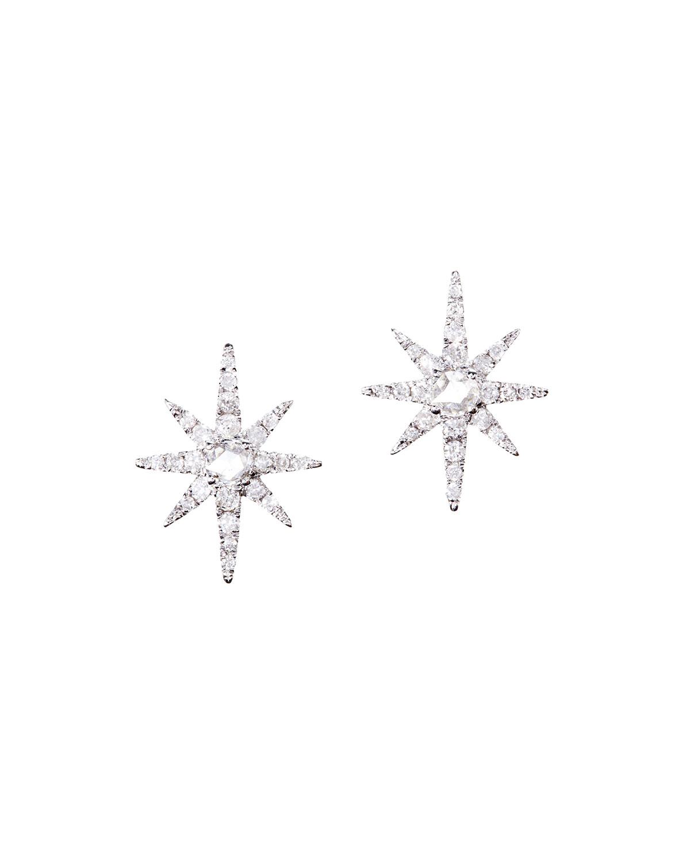 18k White Gold Diamond Starburst Earrings