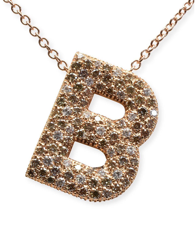 "Via Mantegna 18k Rose Gold Diamond ""B"" Pendant Necklace"