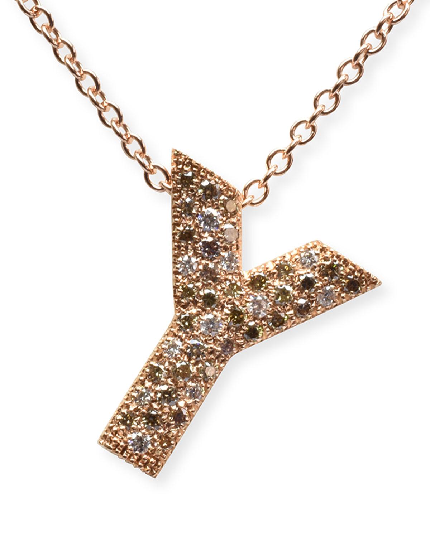"Via Mantegna 18k Rose Gold Diamond ""Y"" Pendant Necklace"