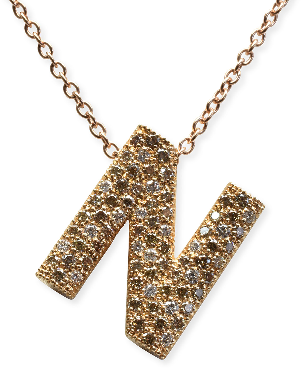 "Via Mantegna 18k Rose Gold Diamond ""N"" Pendant Necklace"