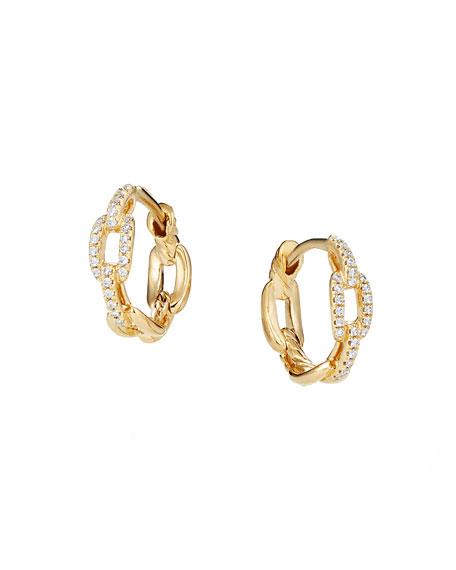 David Yurman Stax 18k Yellow Gold Diamond Chain-Link Hoop Earrings, 12.5mm