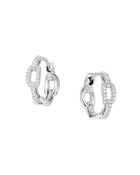 David Yurman Stax 18k White Gold Diamond Chain-Link Hoop Earrings, 12.5mm