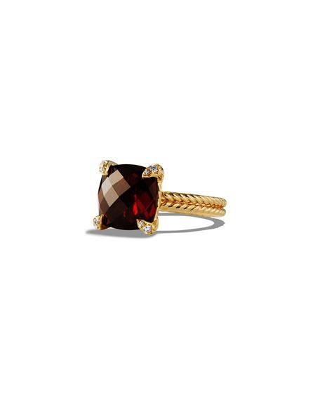 David Yurman 11mm Châtelaine Garnet Ring w/Diamond Prongs, Size 6