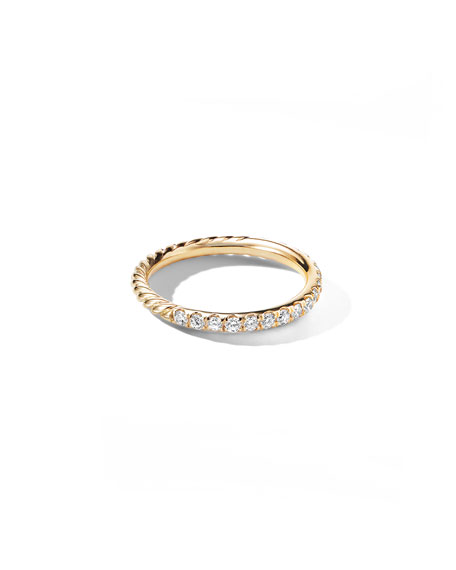 David Yurman Cable Collectibles Pave Diamond Band Ring in 18K Yellow Gold, Size 5