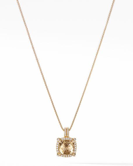 David Yurman 9mm Chatelaine Pave Bezel Necklace