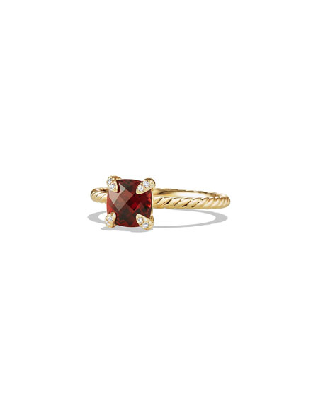 David Yurman Petite Chatelaine Pave Ring in 18K Gold with Garnet, Size 7