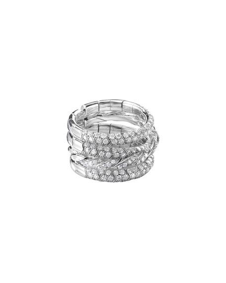 David Yurman Paveflex 18k White Gold 4-Row Diamond Ring, Size 4.5-5.5